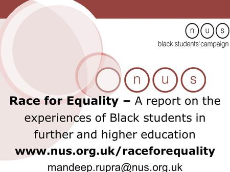 Race for Equality – A report on the experiences of Black students in further and higher education