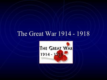 The Great War 1914 - 1918 Background to War The Naval Race Pan-slavism Triple Entente Triple Alliance Moroccan Crises Balkan Wars Shooting at Sarajevo.