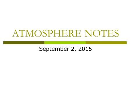 ATMOSPHERE NOTES September 2, 2015. What is weather?  Weather is the condition of Earth's atmosphere at a specific time and place.