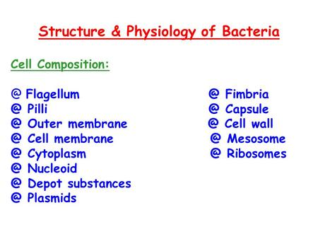 Structure & Physiology of Bacteria Cell   Outer Cell Cell