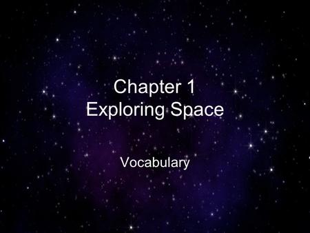 Chapter 1 Exploring Space Vocabulary. a group of stars that form a pattern in the sky constellation.