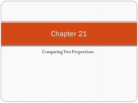 Comparing Two Proportions Chapter 21. In a two-sample problem, we want to compare two populations or the responses to two treatments based on two independent.