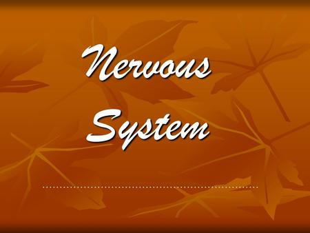 "Nervous System ……………………………………………………… 1. Cary tells you her grandmother had a stroke, and asks you what that means. A simple explanation might be. "" She."