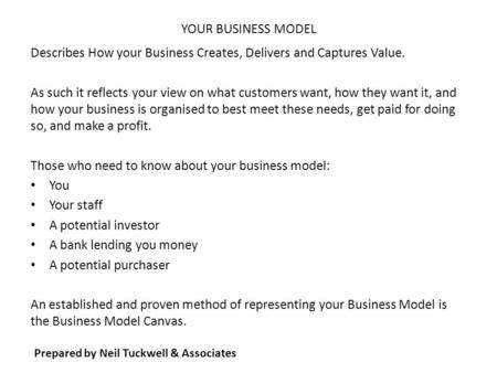 YOUR BUSINESS MODEL Describes How your Business Creates, Delivers and Captures Value. As such it reflects your view on what customers want, how they want.