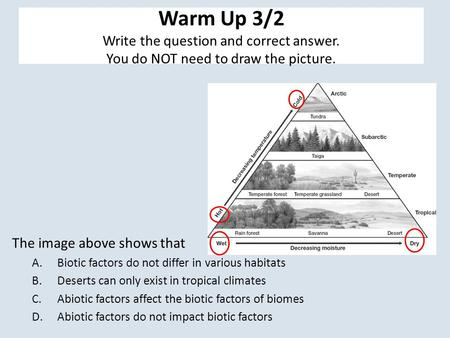 Warm Up 3/2 Write the question and correct answer. You do NOT need to draw the picture. The image above shows that A.Biotic factors do not differ in various.