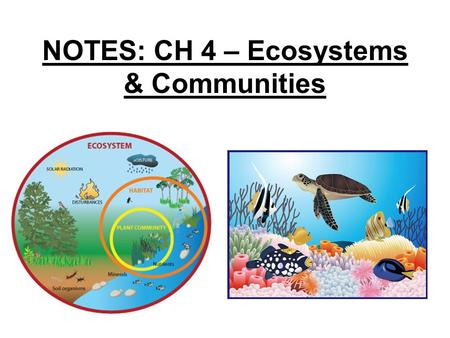 NOTES: CH 4 – Ecosystems & Communities. 4.1 - Weather & Climate: ● WEATHER = day-to-day conditions of Earth's atmosphere ● CLIMATE= refers to average.
