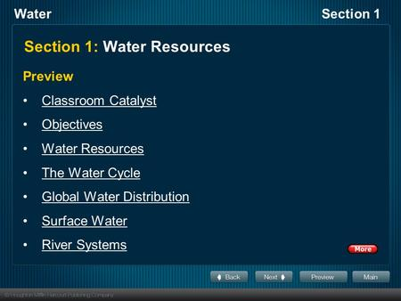 WaterSection 1 Section 1: Water Resources Preview Classroom Catalyst Objectives Water Resources The Water Cycle Global Water Distribution Surface Water.