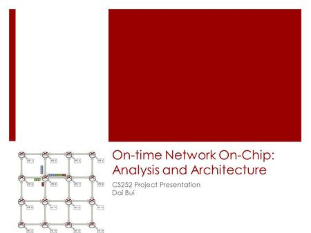 On-time Network On-Chip: Analysis and Architecture CS252 Project Presentation Dai Bui.
