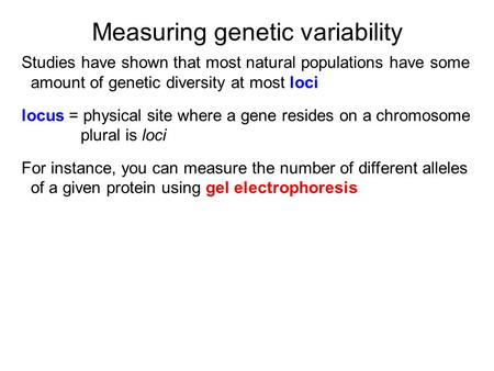 Measuring genetic variability Studies have shown that most natural populations have some amount of genetic diversity at most loci locus = physical site.