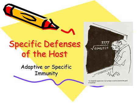 Specific Defenses of the Host Adaptive or Specific Immunity.
