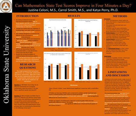 Oklahoma State University Can Mathematics State Test Scores Improve in Four Minutes a Day? Justine Celoni, M.S., Carrol Smith, M.S., and Katye Perry, Ph.D.