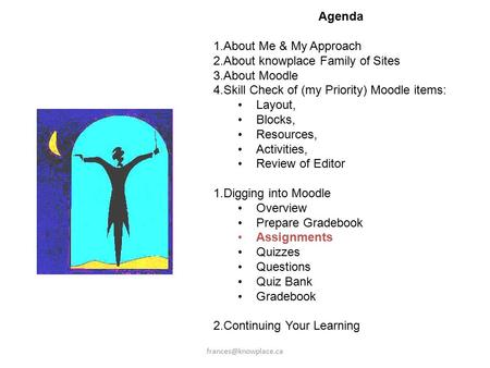 Agenda 1.About Me & My Approach 2.About knowplace Family of Sites 3.About Moodle 4.Skill Check of (my Priority) Moodle items: Layout,
