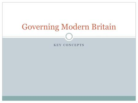KEY CONCEPTS Governing Modern Britain. Course structure Four sections: The British Constitution Parliament The Core Executive Multi-level Governance.