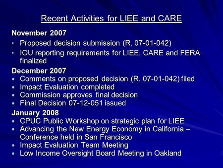 Recent Activities for LIEE and CARE November 2007 Proposed decision submission (R. 07-01-042) Proposed decision submission (R. 07-01-042) IOU reporting.