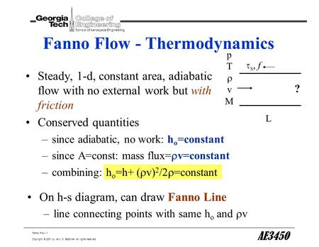 Fanno Flow -1 School of Aerospace Engineering Copyright © 2001 by Jerry M. Seitzman. All rights reserved. AE3450 Fanno Flow - Thermodynamics Steady, 1-d,
