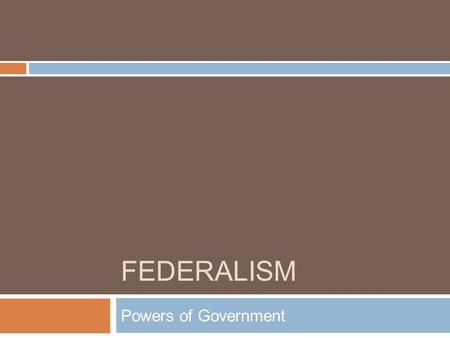 FEDERALISM Powers of Government. Federalism  Definition- Divided authority/power between the state and federal/national government.