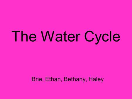 The Water Cycle Brie, Ethan, Bethany, Haley. The Water Cycle The water cycle is made up of four parts: Evaporation (Transpiration) Condensation Precipitation.