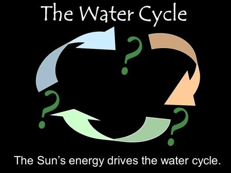 The Water Cycle ? ? ? The Sun's energy drives the water cycle.