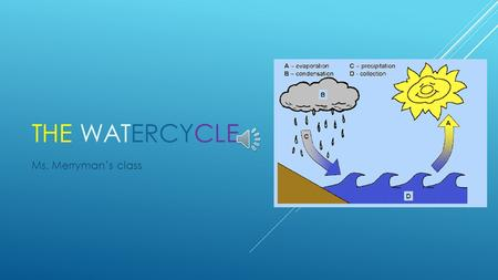 THE WATERCYCLE Ms. Merryman's class WATER CYCLE There are four phases that happen within the water cycle:  Evaporation  Condensation  Precipitation.