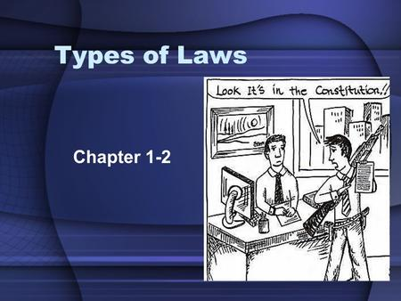 Types of Laws Chapter 1-2. Sources of Law What's Your Verdict? (pg. 10) The federal constitution guarantees the citizens of the U.S. many rights. These.