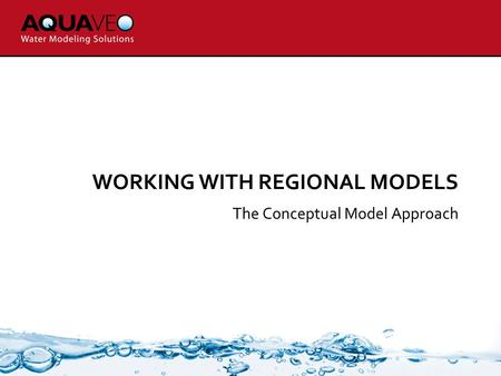 WORKING WITH REGIONAL MODELS The Conceptual Model Approach.
