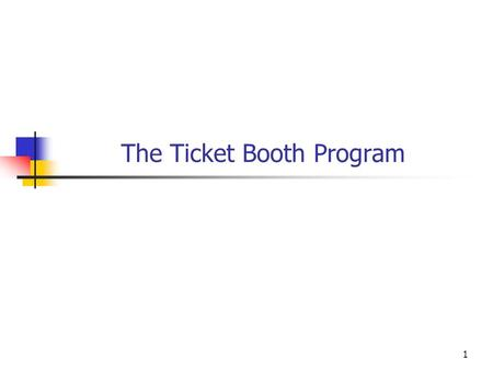 1 The Ticket Booth Program. 2 The Ticket Booth program must handle multiple performances of multiple shows at multiple venues. We need to think about.