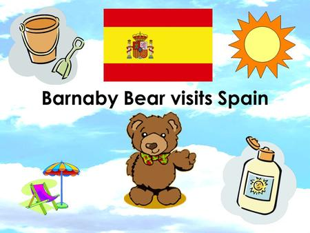 Barnaby Bear visits Spain. I found a map of Spain on the computer It is in Europe.