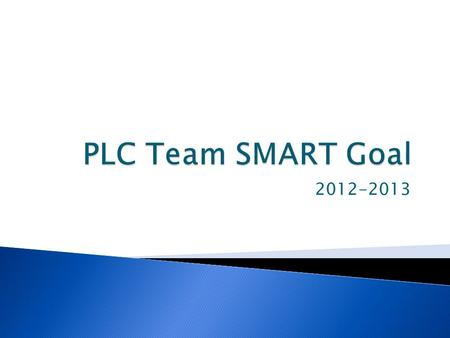 2012-2013.  Develop SMART Goal aligned to your building's School Improvement Plan.  Goals should be single year goals with benchmarks throughout the.