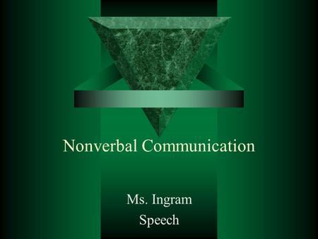 Nonverbal Communication Ms. Ingram Speech. Gestures  a movement or position of the hand, arm, body, head, or face that is expressive of an idea, opinion,