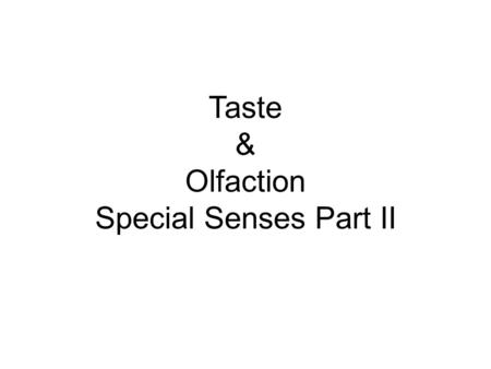 Taste & Olfaction Special Senses Part II. Odorant --> Receptor Cell --> Olfactory bulb --> Olfactory Tract --> LIMBIC SYSTEM.