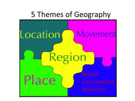 5 Themes of Geography. Location Tells us where a place is on the Earth's surface Relative Location – location in relation to something else through travel,