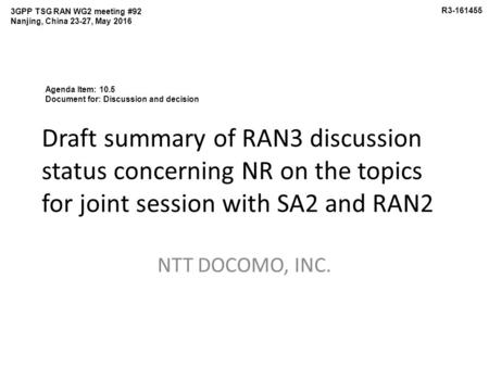 Draft summary of RAN3 discussion status concerning NR on the topics for joint session with SA2 and RAN2 NTT DOCOMO, INC. 3GPP TSG RAN WG2 meeting #92 Nanjing,