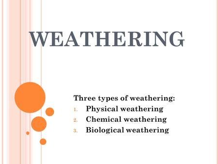 WEATHERING Three types of weathering: 1. Physical weathering 2. Chemical weathering 3. Biological weathering.