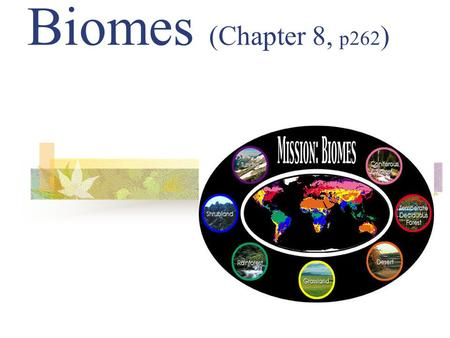 Biomes (Chapter 8, p262 ) A biome is one of Earth's large ecosystems, with its own kind of climate, soil, plants, and animals.