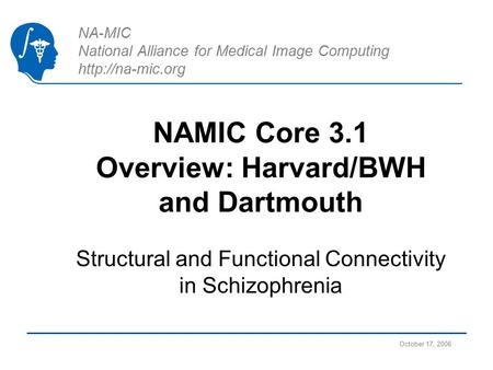 NA-MIC National Alliance for Medical Image Computing  NAMIC Core 3.1 Overview: Harvard/BWH and Dartmouth Structural and Functional Connectivity.
