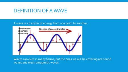 DEFINITION OF A WAVE A wave is a transfer of energy from one point to another: Waves can exist in many forms, but the ones we will be covering are sound.