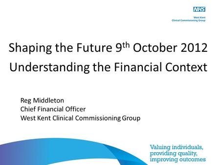 Shaping the Future 9 th October 2012 Understanding the Financial Context Reg Middleton Chief Financial Officer West Kent Clinical Commissioning Group.