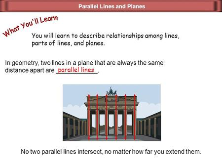 You will learn to describe relationships among lines, parts of lines, and planes. In geometry, two lines in a plane that are always the same distance apart.