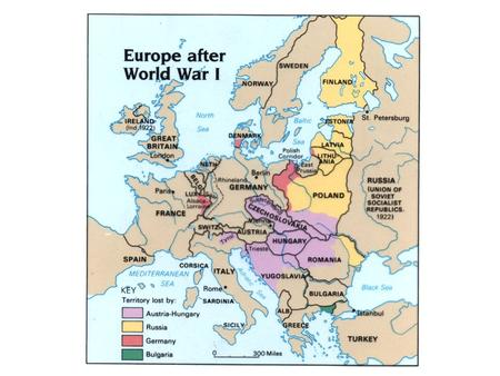 What were the main terms of the Treaty against Germany? War Guilt Clause Reduction of Germany's armed forces – only 100,000 men in army Rhineland demilitarised.
