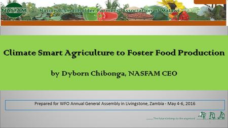 Climate Smart Agriculture to Foster Food Production Climate Smart Agriculture to Foster Food Production by Dyborn Chibonga, NASFAM CEO 1 Prepared for WFO.