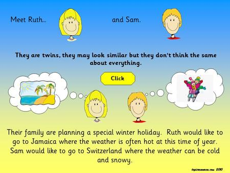 Meet Ruth…and Sam. They are twins, they may look similar but they don't think the same about everything. Their family are planning a special winter holiday.