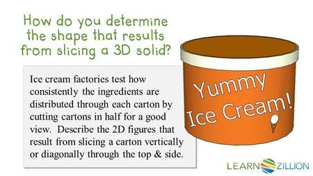 Ice cream factories test how consistently the ingredients are distributed through each carton by cutting cartons in half for a good view. Describe the.