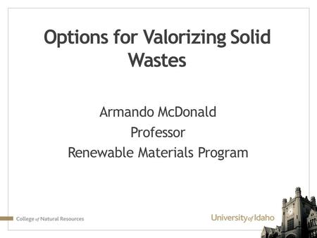 Options for Valorizing Solid Wastes