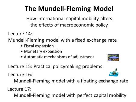 The Mundell-Fleming Model How international capital mobility alters the effects of macroeconomic policy Lecture 14: Mundell-Fleming model with a fixed.