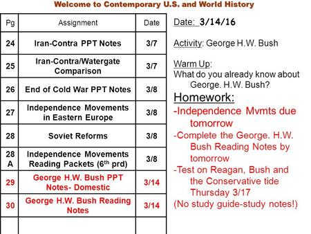 Welcome to Contemporary U.S. and World History PgAssignmentDate 24Iran-Contra PPT Notes3/7 25 Iran-Contra/Watergate Comparison 3/7 26End of Cold War PPT.