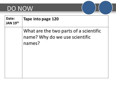 DO NOW Date: JAN 19 th Tape into page 120 What are the two parts of a scientific name? Why do we use scientific names?