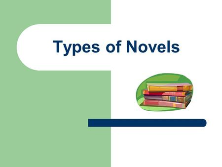 Types of Novels. Genre: A category used to classify literary works, usually by form, technique or content.