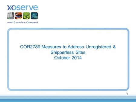 1 COR2789 Measures to Address Unregistered & Shipperless Sites October 2014.