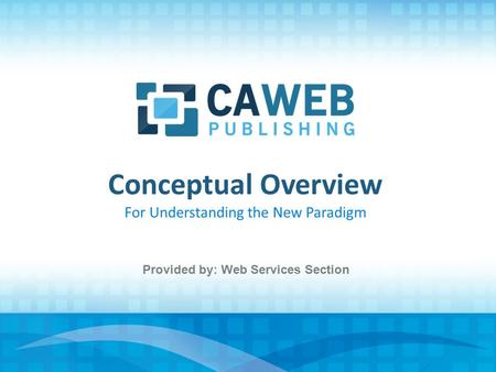 Conceptual Overview For Understanding the New Paradigm Provided by: Web Services Section.