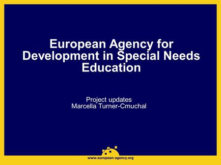 European Agency for Development in Special Needs Education Project updates Marcella Turner-Cmuchal.